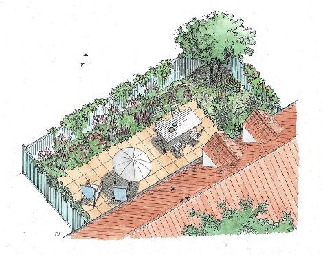 Frodig terrasse trods tørre bede